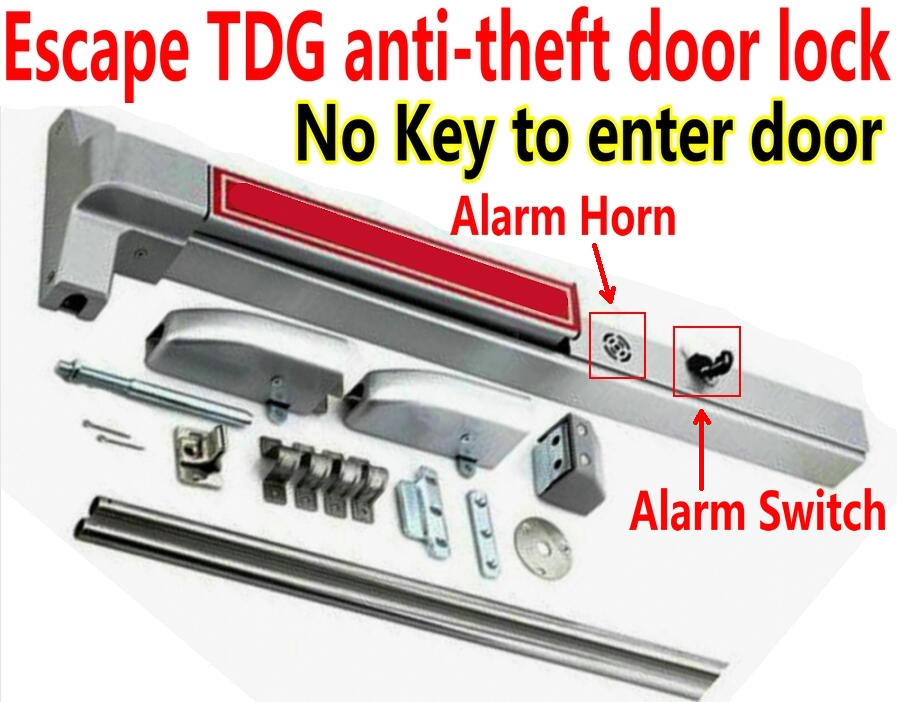 Emergency Alarm Button Security Alarm Sky And Earth Lock Emergency Escape Door Lock,fireproof Door Locker Exit Metal Push Lock Office Hotel,door Lock Access Control 100% Original