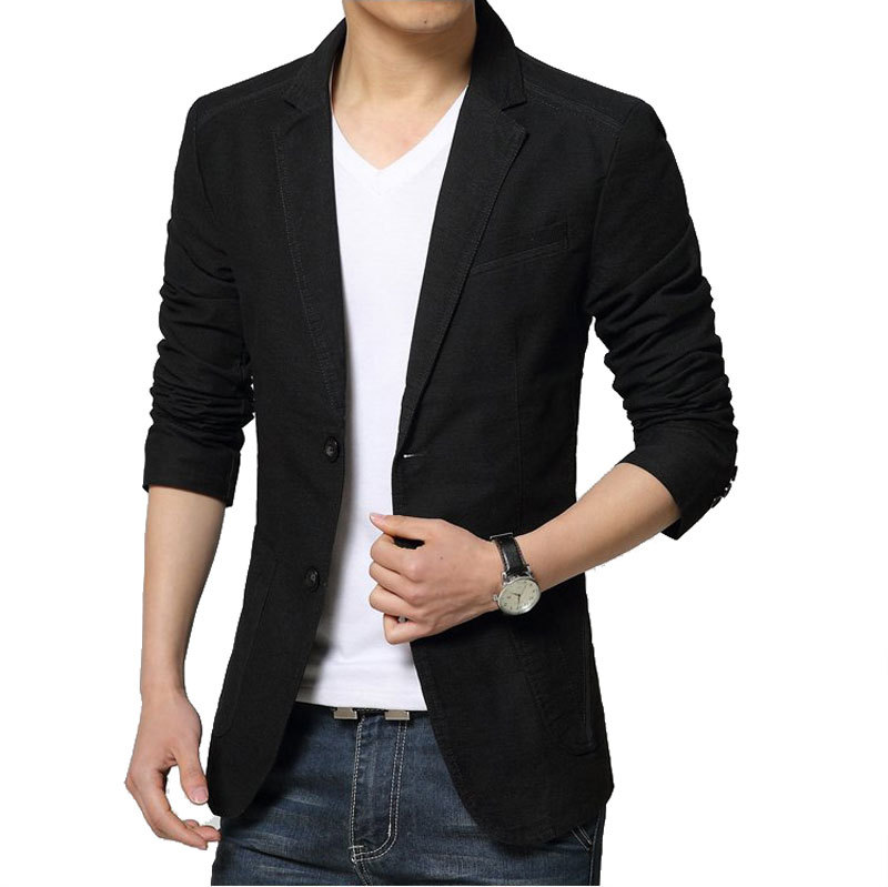 2016 New Autumn Fashion Black Blazer Jacket Men Casual Brand Slim ...