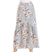 SHUJIN 2018 verano mujeres Vintage Falda larga Boho impresión Floral faldas  Womens Sexy Split alta cintura gasa playa Maxi falda 1b7f2aba585a