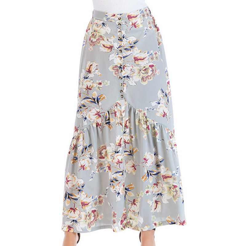 ddbebf8292c7 SHUJIN Summer Women Vintage Long Skirt Fashion Boho Floral Print Skirts  Womens Sexy Split High Waist