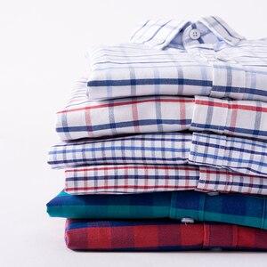 Image 3 - Hot البيع 100% القطن أكسفورد عادية لينة صالح منقوشة فستان بكم طويل قميص الرجال ربيع 2018 ريترو ستايل ارتداء قمصان بلوزة لينة