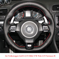 Black Leather Hand-stitched Car Steering Wheel Cover for Volkswagen Golf 6 GTI MK6 VW Polo GTI Scirocco R