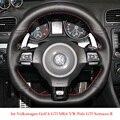 Negro de Cuero cosido A Mano Cubierta Del Volante Del Coche para Volkswagen Golf 6 GTI MK6 VW Polo GTI Scirocco R