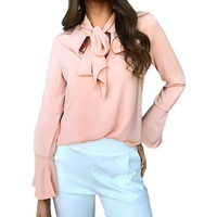 Female Autumn Blouse 2017 Women Flare Long Sleeve Bowknot Fashion Shirts Loose Casual Tops Office Shirt