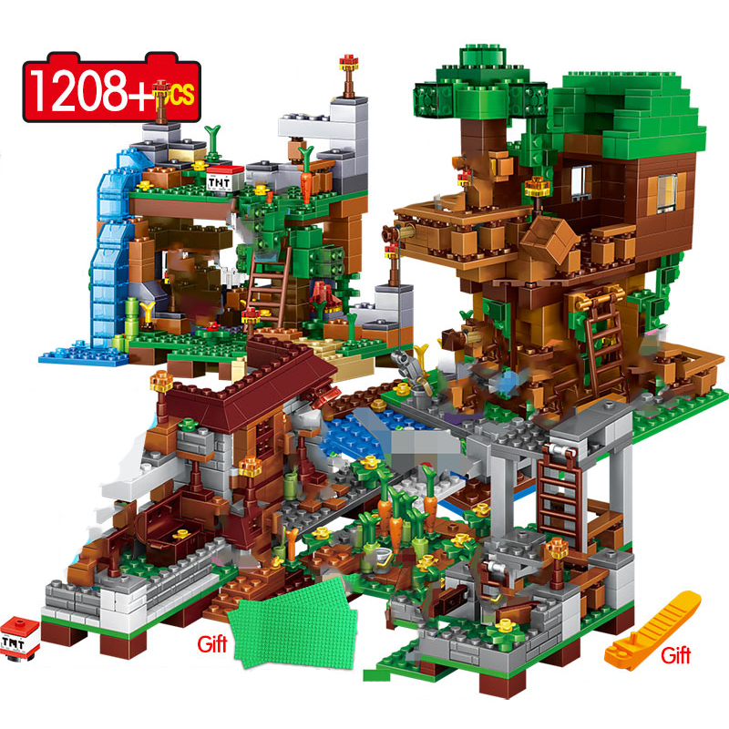 My World Village Warhorse 3in1 1208pcs Building Blocks Minecraftinglys City Tree House Waterfall Educational Toys For