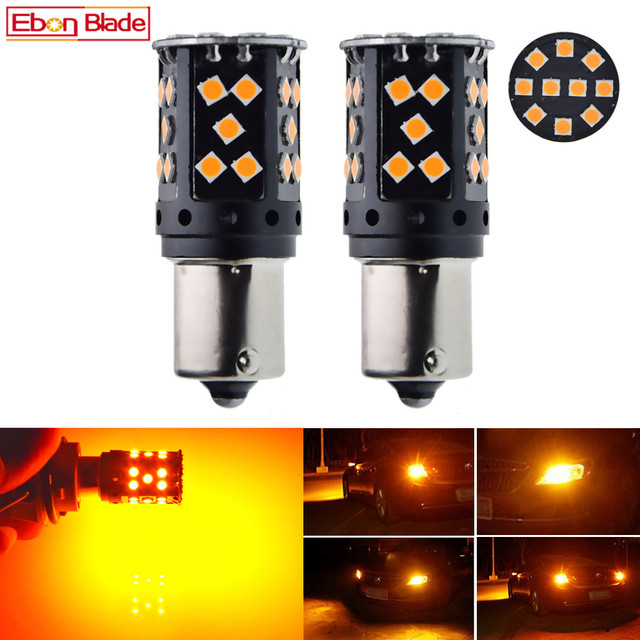 Bombilla LED para intermitente de coche, luz de intermitente, amarillo ámbar, naranja, Canbus, sin errores OBC, BAU15S 7507 12V 24V, 1156PY PY21W, 2 uds.