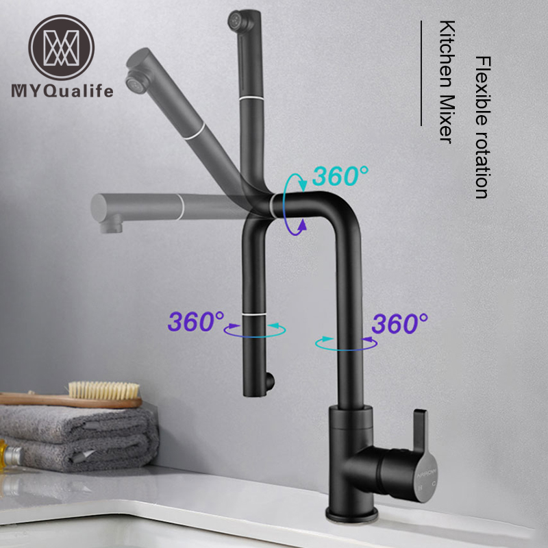New Matt  Black And White Kitchen Faucet Flexible Rotating 2 Function  Bathroom Kitchen Faucet  Cold and Hot torneiraNew Matt  Black And White Kitchen Faucet Flexible Rotating 2 Function  Bathroom Kitchen Faucet  Cold and Hot torneira