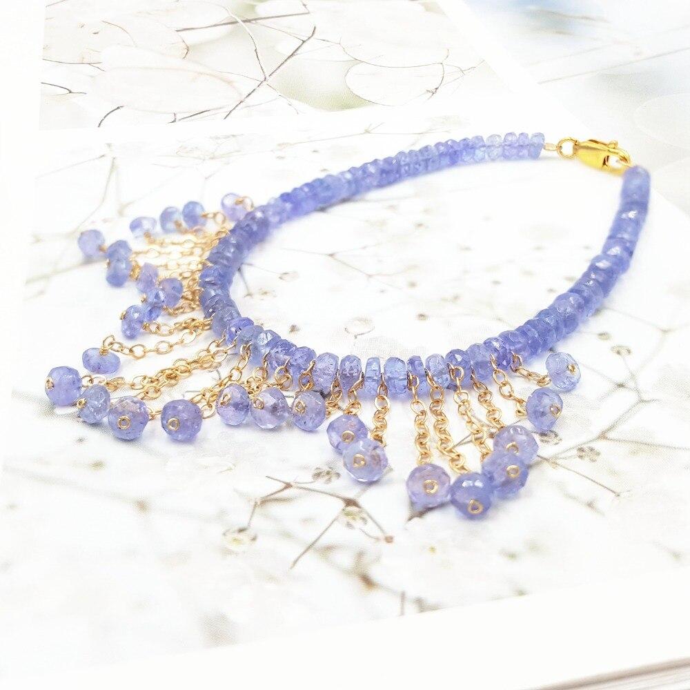 LiiJi Unique pierre naturelle bleu Tanzanites or remplissage gland Bracelet pour les femmes joli cadeau Bracelet de fête de mariage - 2