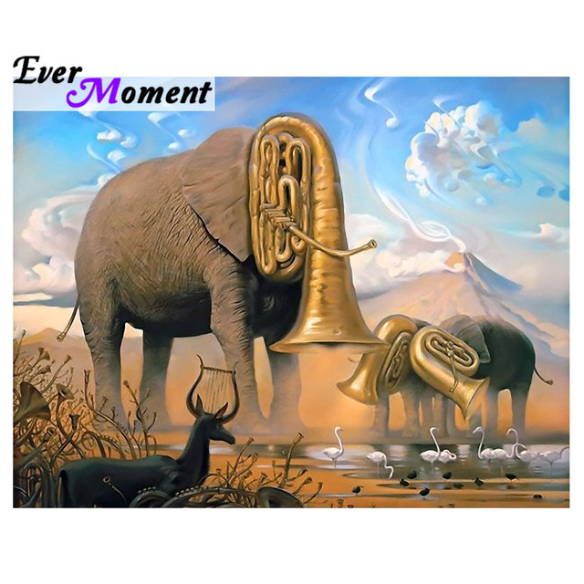 Ever Moment Nature Songs Surrealism Art Elephant Music Note Diamond Painting Diy Full Squre