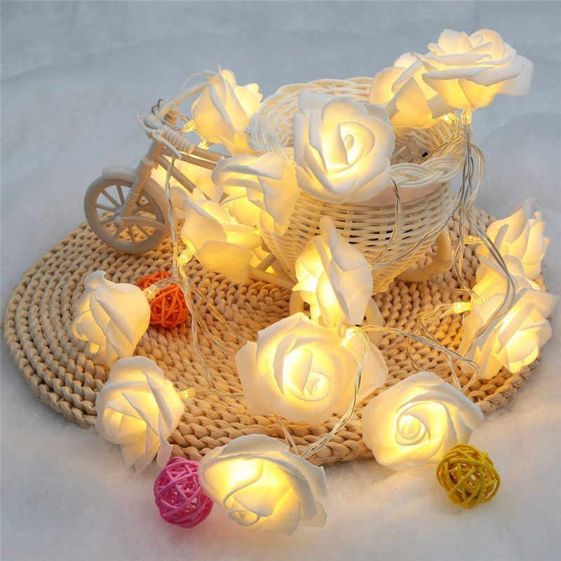 Flameless Led Rose Candles With 10 pieces or 20 pieces Rose Light,Battery Rose Candles For Wedding Valentine's Day Decoration
