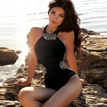 Celebrity Party Black Women Bodysuit Sleeveless Off The Shoulder O-Neck Beading Hot Sexy Swinsuit