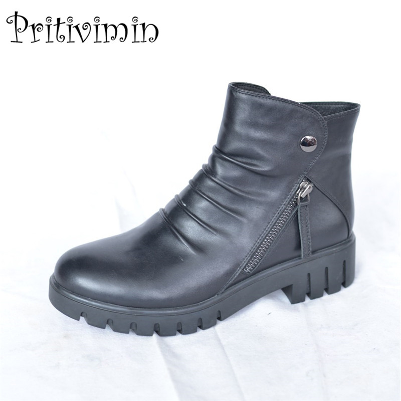 2017 Nes fashion winter ladies warm lined shoes woman black genuine leather thick low heel short ankle boots Pritivimin FN51