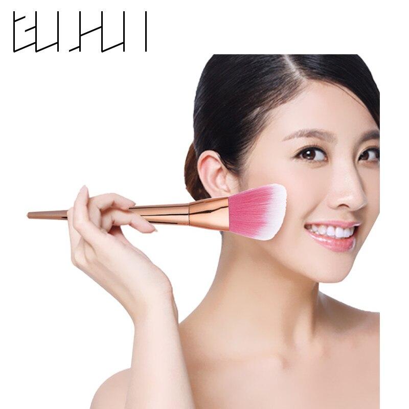1Pcs Pink Hair Powder Brush Single Rose Gold Makeup Brush Cleaner Facial Red Cheek Blusher Cosmetic