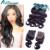 Malaio onda do corpo do Cabelo Virgem Com O Fechamento da malásia cabelo virgem 3 pacotes com fecho de rendas allidoremi cabelo à venda