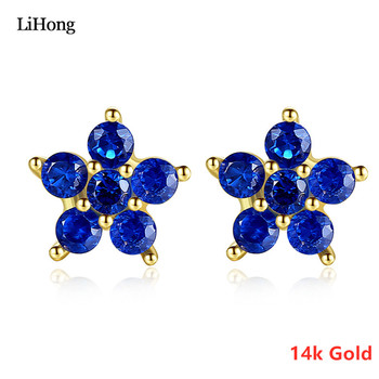 14K Gold Jewelry Fashion New Five-Pointed Star Ladies Stud Earrings Blue And White Two-Color Zircon Jewelry Gifts