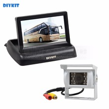 DIYKIT Wired 4.3inch Foldable Rear View Monitor Car Monitor Waterproof CCD Reverse IR Night Vision Bus Truck Camera White