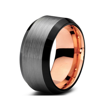 Black Brushed Effect With Rose Gold Lining Custom Tungsten Ring
