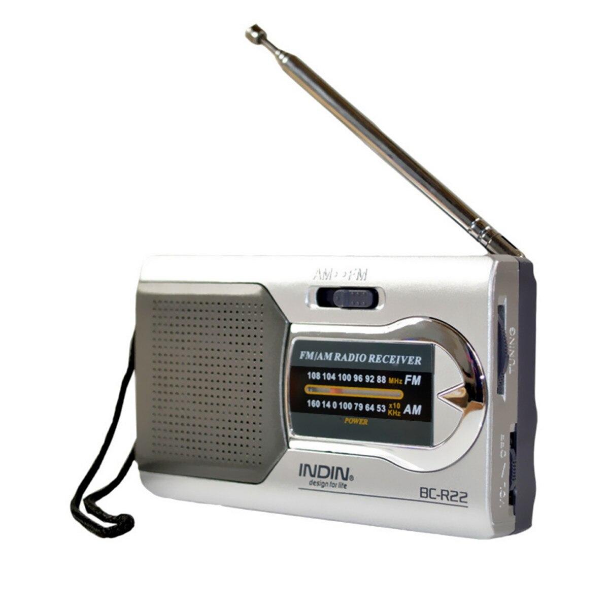 INDIN Argent Mini Portable AM/FM Télescopique Antenne Radio
