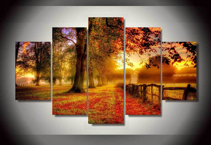 Framed Home Decor 5 Piece Canvas Art Fall Leaves Golden Hd