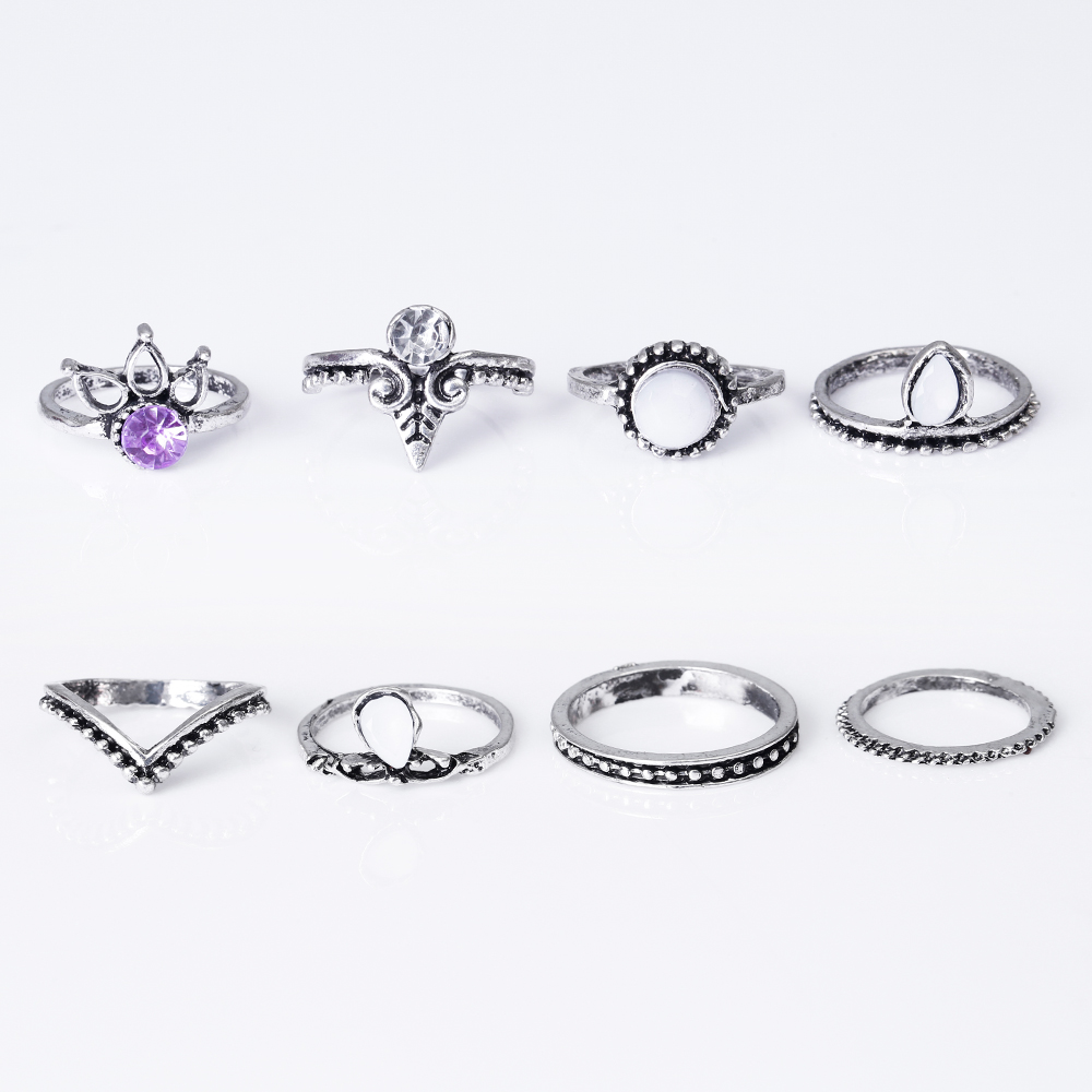HTB1DKM3QVXXXXbYaXXXq6xXFXXXH 8-Pieces Bohemian Vintage Retro Lucky Stackable Midi Ring Set For Women - 2 Colors