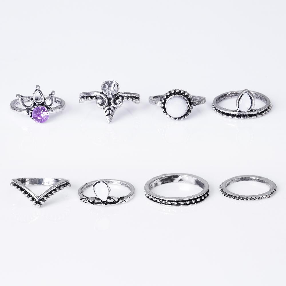 HTB1DKM3QVXXXXbYaXXXq6xXFXXXH 8-Pieces Bohemian Vintage Retro Lucky Stackable Midi Ring Set For Women - 2 Colors