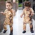 Baby Boy Romper 2017 Macacão de Bebê Tigre Dos Desenhos Animados Presentes de Aniversário Meninos Romper Do Bebê Roupas de Verão Recém-nascidos Roupas de Algodão Com Capuz