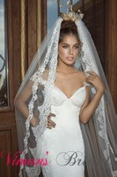 2015 Hot Sale Fashion Sexy Exquisite Backless V Neck Mermaid Sweep Train Lace Wedding Dresses Custom