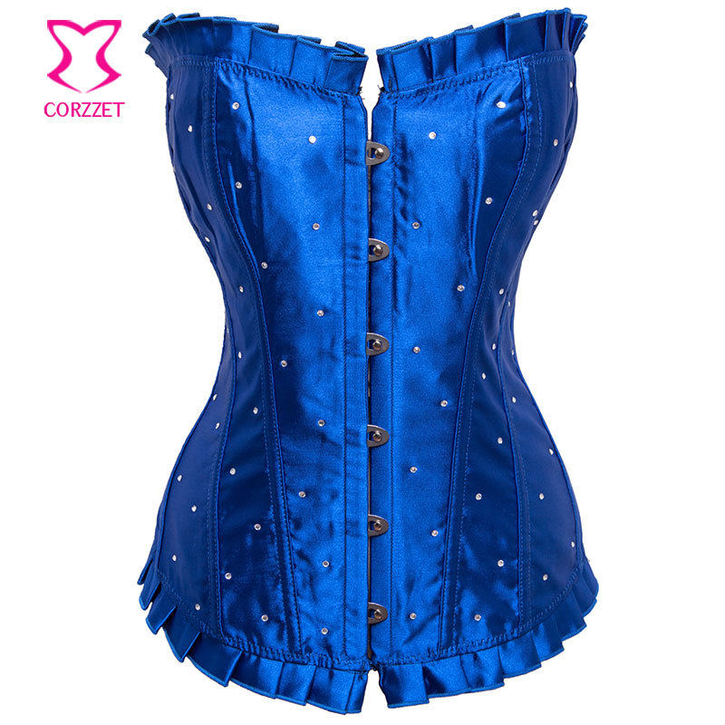 S - 6XL Blue Satin Overbust Broadway Showgirl Corpetes E Espartilhos Plus Size Corset Waist Trainer Sexy Corsets and Bustiers