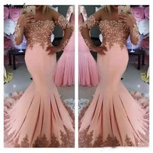 Sexy Middle East Arabic Prom Dresses Long Sleeves Pink Lace Appliques Pearls Mermaid Plus Size Evening Party Gowns Wear Vestido