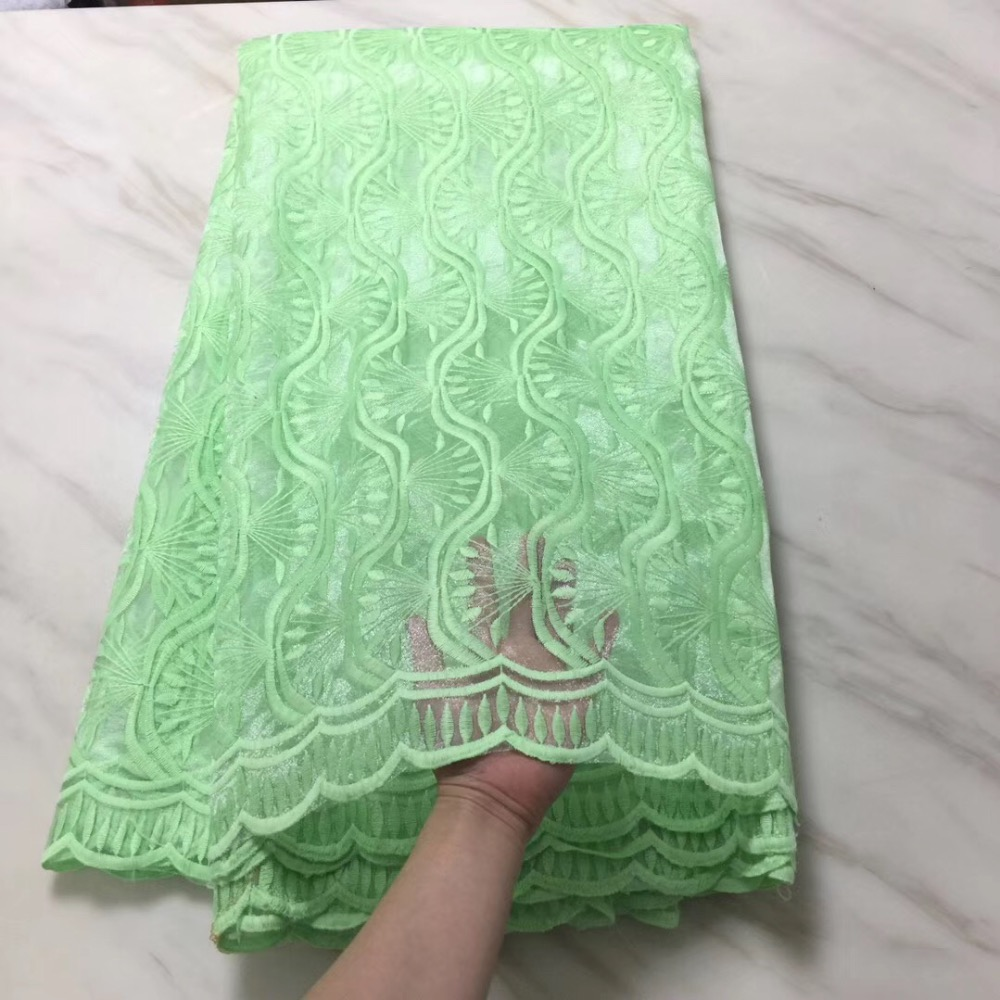 2019 women s African lace fabric with fashion green 3 d flower embroidery mesh lace material
