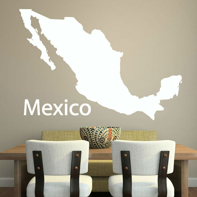Cheapest Simple Outline Mexico Map Wall Decal Vinyl Customized Colors  Adhesive Home Decor Wall Sticker Free