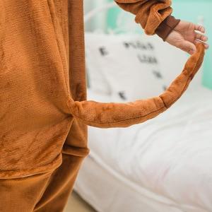 Image 5 - ผู้ใหญ่ Kigurumi Onesie อะนิเมะผู้หญิงเครื่องแต่งกายลิงสีน้ำตาลฮาโลวีนคอสเพลย์การ์ตูนสัตว์ชุดนอนฤดูหนาว Warm Hooded ชุดนอน