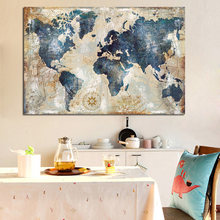 Vintage Watercolor World Map Painting Canvas Painting Poster and Print Wall Picture for Living Room Cuadros Decor No frame(China)