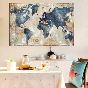 Vintage Watercolor World Map Painting Canvas Painting Poster and Print Wall Picture for Living Room Cuadros Decor No frame