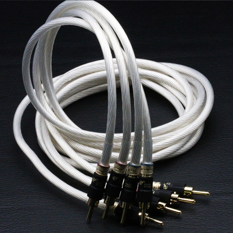 hifi speaker cable wires Pair 5N Single crystal silver audiophile Speaker Cable loudspeaker cable with pailccs banana plugs