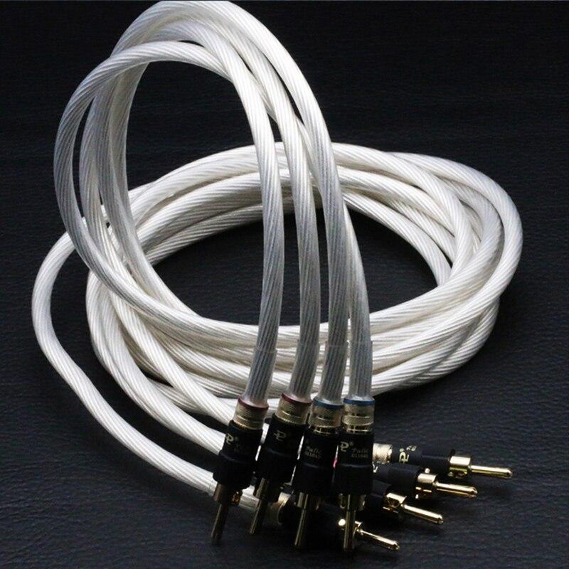 Câble haut parleur hifi fils paire 5N monocristallin argent câble haut parleur audiophile câble haut parleur avec bouchons banane pailccs on AliExpress - 11.11_Double 11_Singles' Day 1