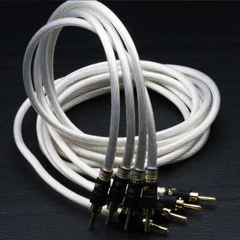 hifi speaker cable wires Pair 5N Single crystal silver audiophile Speaker Cable loudspeaker cable with pailccs banana plugs - DISCOUNT ITEM  9% OFF All Category