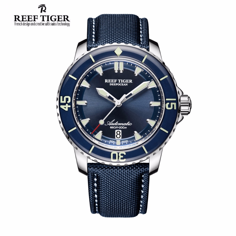 Reef Tiger/RT Fashion Super Luminous Dive Watches Mens Blue Dial Analog Automatic sapphire Men Watches Nylon Strap RGA3035 BOX reef tiger rt super luminous dive watches for men rose gold blue dial watches analog automatic watches rga3035