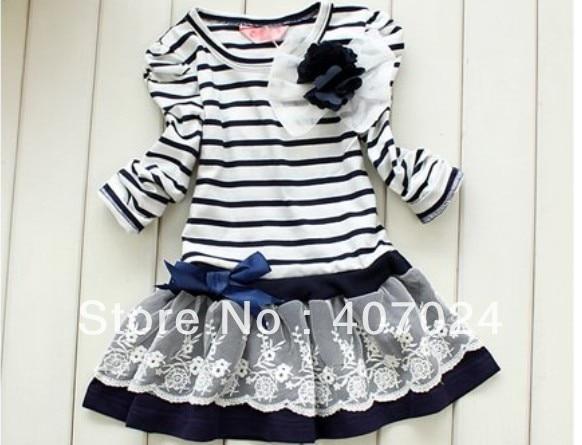 Hot sale 5pcs/lot new 2013 spring Lace Flower girls princess dress child dress striped dresses free ship 630212J