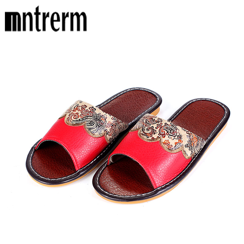 Mntrerm 2017 Brand Home Slipper Women Patient Leather Flat with Sandals Lady Casual Indoor Summer Shoes Loafer Plus Size 35~40 plus size women footwear shoes star hollow platform loafer shoes summer breathable students casual flat with shoes increase shoe
