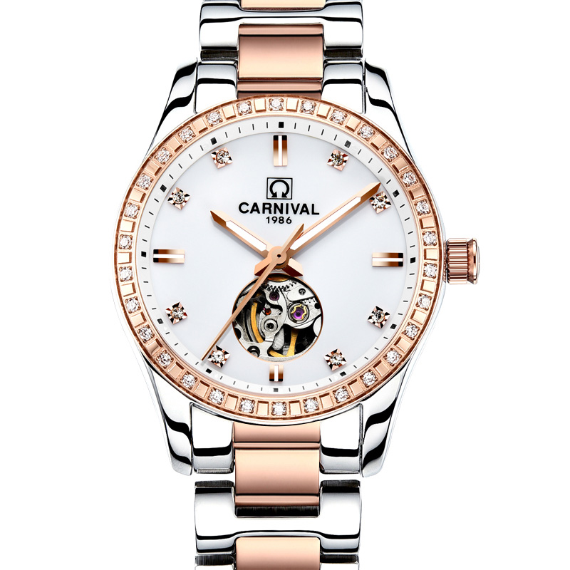 CARNIVAL New Luxury Women Watch Top Brand Automatic Watch Women HD Luminous Calendar or Tourbillon Waterproof Sapphire Kol saatiCARNIVAL New Luxury Women Watch Top Brand Automatic Watch Women HD Luminous Calendar or Tourbillon Waterproof Sapphire Kol saati