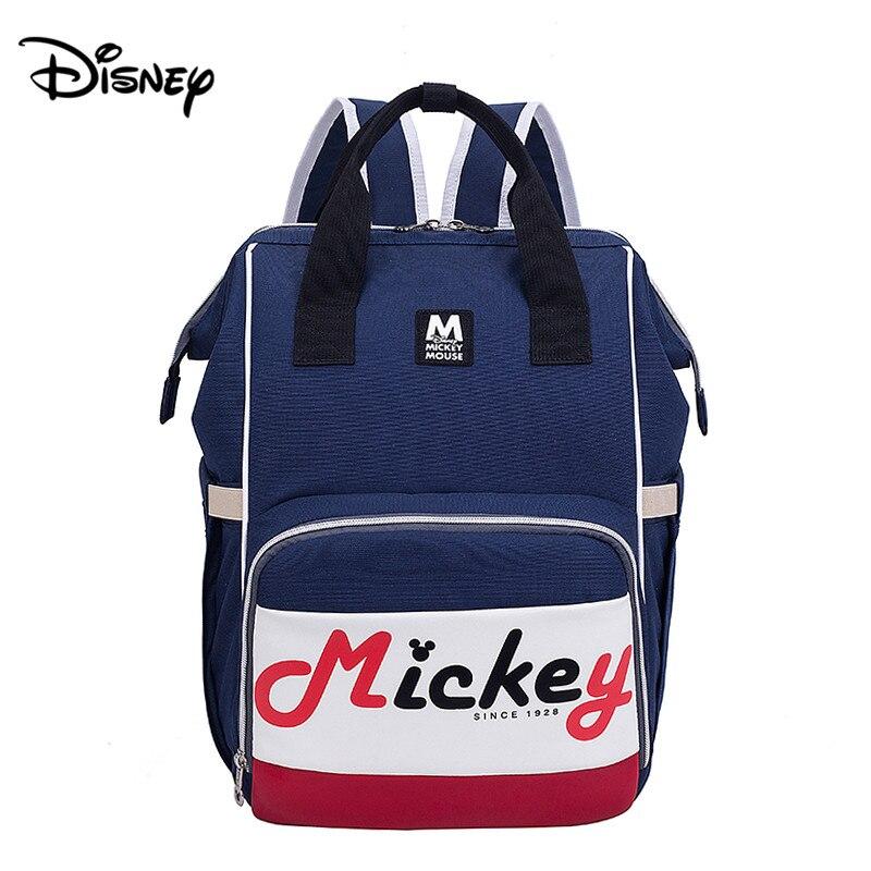 Disney Blue Mickey Mommy Bag Fashion Trend Backpack Waterproof Portable Mummy Bag