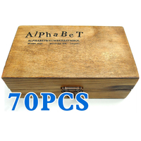 Pack Of 70pcs Rubber Stamps Set Vintage Wooden Box Case Alphabet Letters Number Craft No Ink