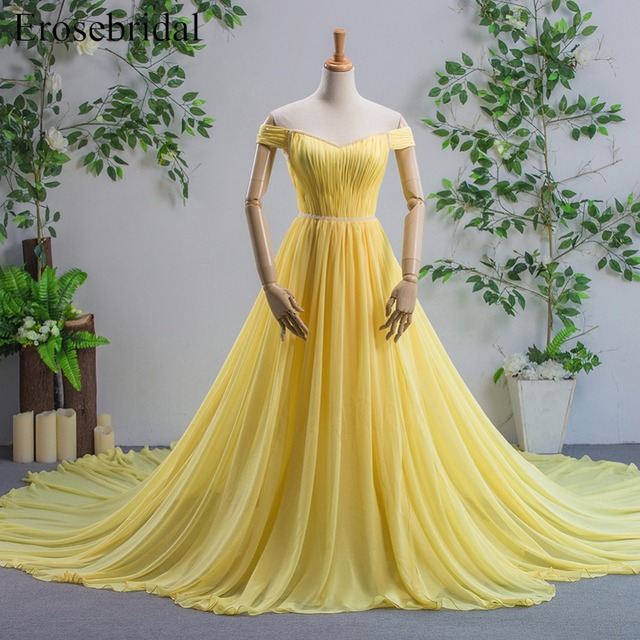 Off The Shoulder Sweetheart Yellow Evening Dresses With Long Train A Line Chiffon Prom Gown