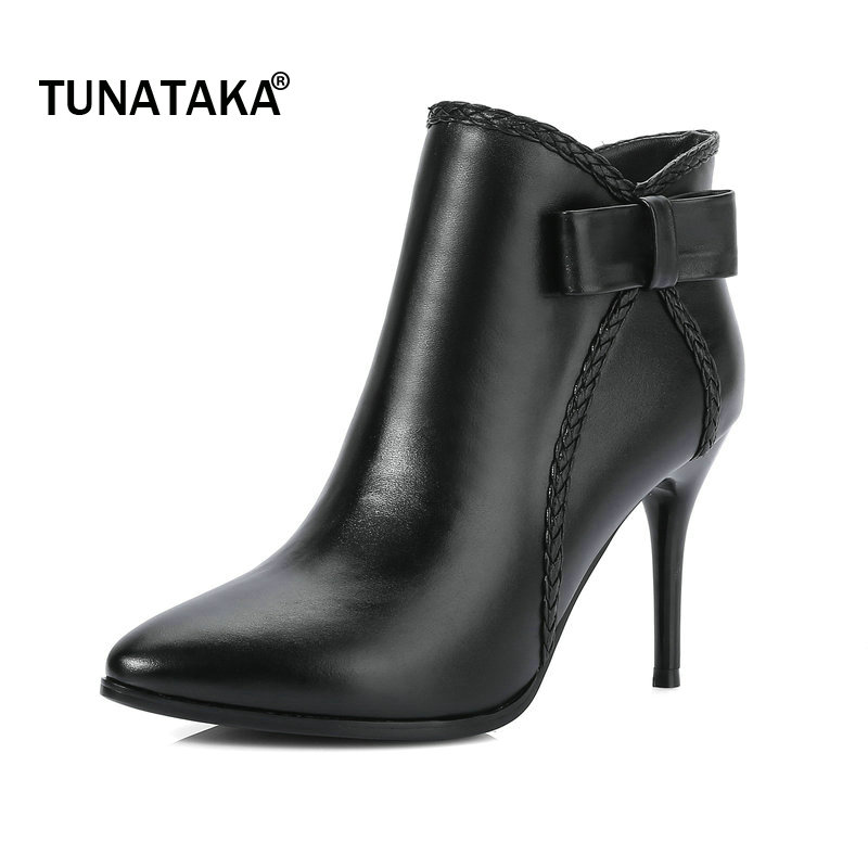 Woman Genuine Leather Pointed Toe Thin High Heel Side Zipper Ankle Boots Fashion Bow Knot Dress Winter Boots Black Red fashion rivet thin high heel genuine leather ankle boots women side zipper pointed toe winter shoes black wine red