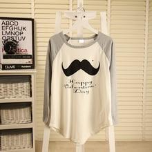 Free shipping beard letter printing irregular mosaic loose and comfortable cotton long sleeved T-shirt