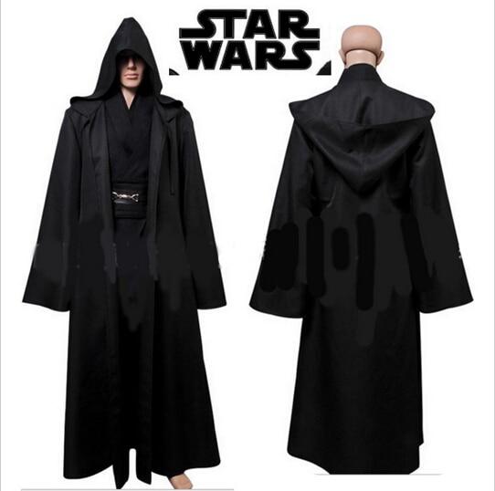 53a85b4006 Star Wars Darth Vader Terry Jedi Black Robe Jedi Knight Bath Robes  Halloween Cosplay Costume Cloak Hoodie Cape Adult Men set