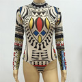 Sexy Printed Collar T - Shirt Women High Neck Bodysuit Tops Long Sleeve Short Jumpsuit Skinny Women's Rompers Jumpsuit Playsuit