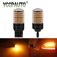 YCCPAUTO 2 шт. P21W W21W PY21W светодиодный указатель поворота без гипер вспышки желтые лампы 1156 Ba15s T20 Canbus автомобильная лампа 3014 144 SMD 12 В