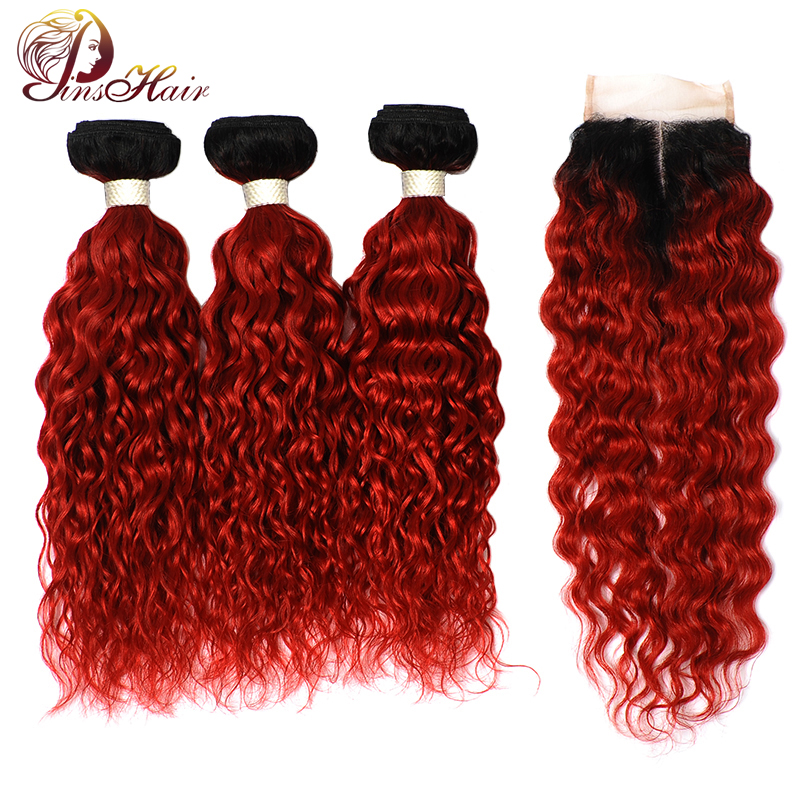 Pinshair 1B Red Colored Brazilian Water Wave Bundles With Closure Ombre 99J Burgundy Human Hair 3 Bundles With Closure Non-Remy